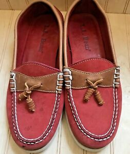 LL-Bean-Red-Sun-Washed-Canvas-Boat-Deck-Shoes-Women-039-s-Size-5-5-Moccasins-asis