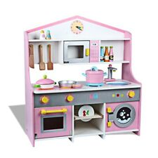 Child Kids Wood Kitchen Playset Toy Cooking Pretend Play Set Toddler Wooden