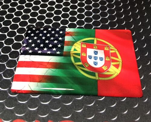 """America USA Portugal Dual Country Domed Decal Distress Sticker 3D 3.25/""""x2/"""""""