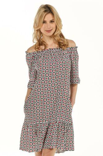 Italy 229€ 0039 Off-Shoulder-Kleid Marge Damenkleid schwarz-weiss Damen Neu