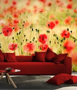 Wall mural wallpaper for bedroom living room Monets poppys 72x100