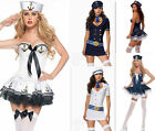 New Retro Ladies Navy Sailor Pin Up Fancy Dress Costume Halloween Sexy Outfit