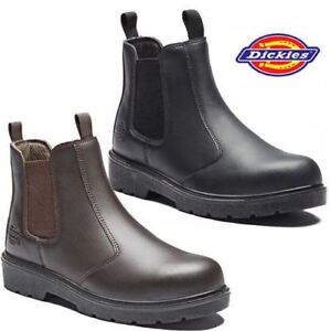 4fa1abc7433 Details about Dickies Dealer Chelsea Safety Work Boots Steel Toe Brown  Black FA23345 Size 6-12
