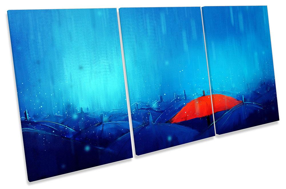 Paraguas rojo azul azul rojo LONA pared arte agudos lluvia Impresión Arte aab278