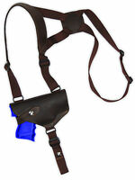 Barsony Horizontal Brown Leather Shoulder Holster Glock Compact 9mm 40 45