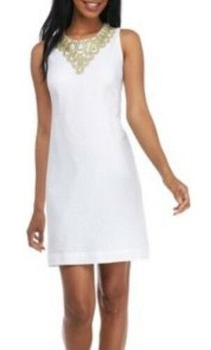 Jessica Howard White/Gold Embellished Lace Neckline Linen-blend Shift Dress $98