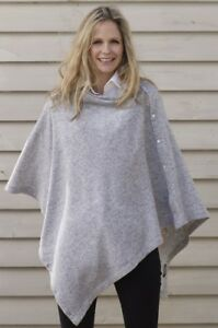 CASHMERE-Button-PONCHO-LIGHT-GREY-Wrap-One-Size-Fits-All-Buttoned-PONCHO-Buton
