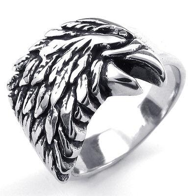 Biker Silver Tone Eagle 316L Stainless Steel Men Ring Size US 7-11