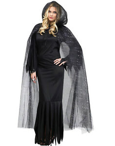 Adult Ladies Halloween Widow Bride Gothic Lace Hooded Cape Cloak Witch Costume