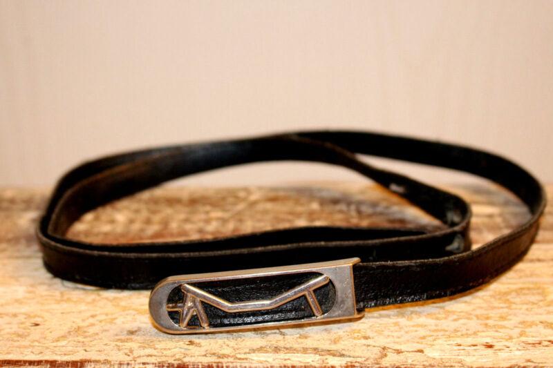 Gü048t-unikat Schnalle Boutigue Schwarz Faux Leder L108 Cm B 1,5 Cm Gürtel