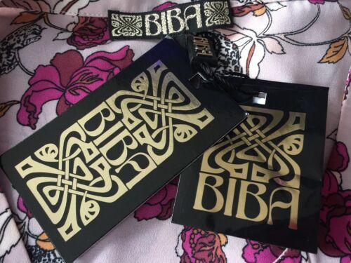 BIBA BLUSH PINK FLORAL /& LEOPARD PRINT RUFFLE FRONT BLOUSE SIZE 10 RETAIL £69