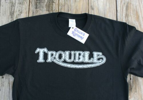 "Vintage Style Triumph /""Trouble/"" T-Shirt Harley Indian BSA Norton Men/'s Tee S-3XL"