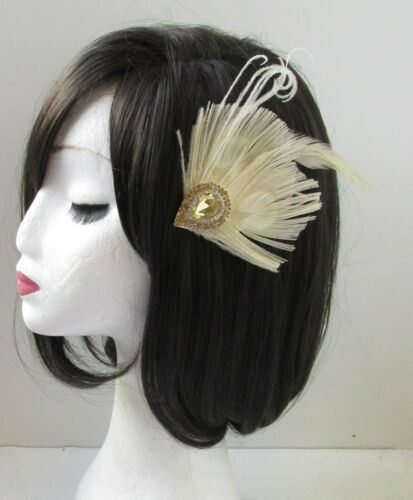 Ivory Cream /& Gold Rhinestone Peacock Feather Fascinator Hair Clip Vintage U17