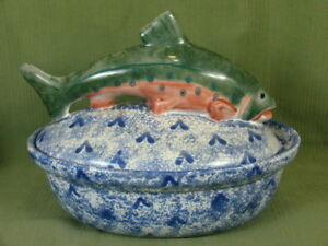 Details about Mesa International Pottery Hungary Rainbow Trout Lid Majolica  Bowl