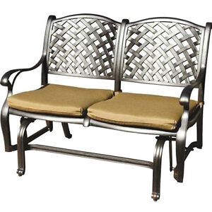 Patio bench love seat Nassau Cast Aluminum furniture Outdoor glider Couch Bronze