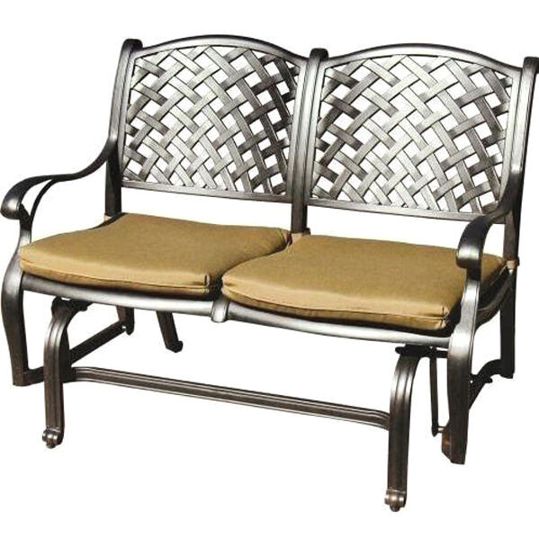 Patio Bench Love Seat Nassau Cast Aluminum Furniture Outdoor Glider Couch  Bronze | EBay