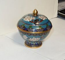 CHINESE CLOISONNE BLUE ENAMEL FLORAL BOWL JAR BOX