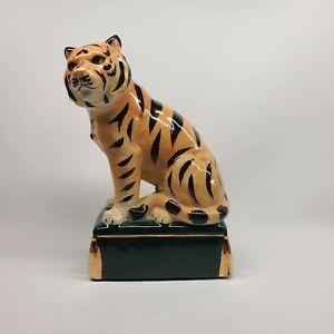 Vintage MCM Takahashi Tiger San Francisco Crackle Ceramic Figurine Bookend