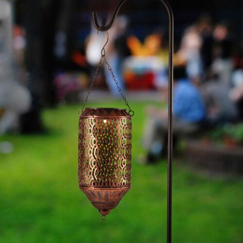 LED Solar Laterne Marrokanischer Stil Garten Deko Beleuchtung Erdspieß kupfer