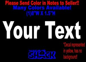CUSTOM TEXT Vinyl Decal Sticker Car Window Bumper YOUR Personalized Lettering