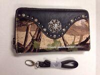 Montana West Shiny Camo Wallet Wristlet Rhinestones Concho - Mw72-w002 Gn/bk