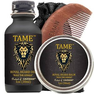 Hand-Crafted-Caveman-Beard-Oil-Set-KIT-Beard-Oil-Balm-FREE-Comb-New-Arrival