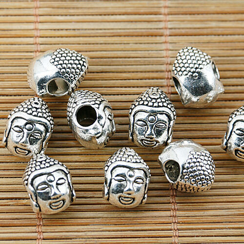 6pcs Tibetan silver buddha head spacer bead fit bracelets EF1640