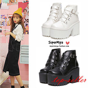 Womens-Gothic-Punk-Buckle-Strap-High-Platform-Block-Heel-Ankle-Boots-Shoes-Size
