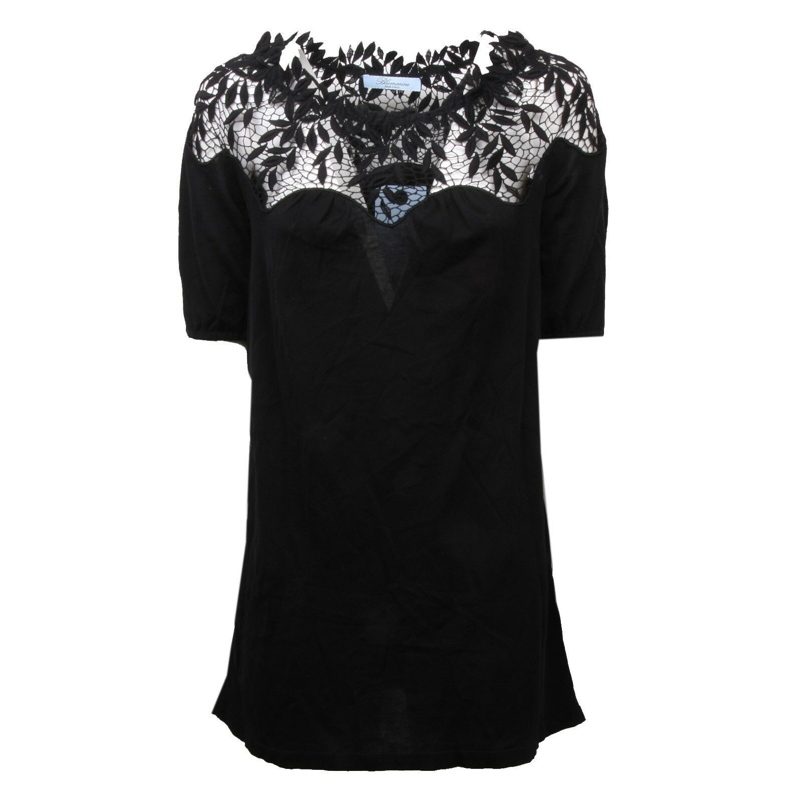 C4356 maglia donna BLUMARINE pizzo nero t-shirt Donna