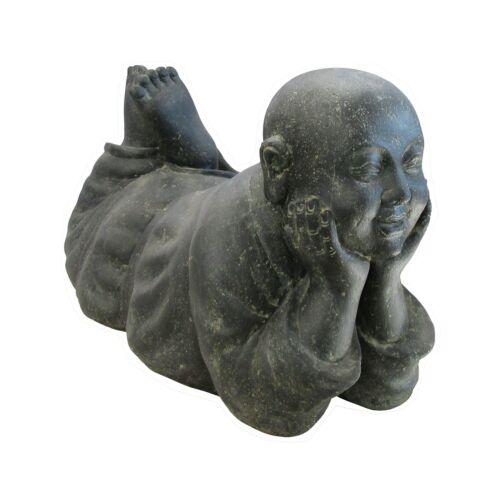 L 25 cm frostfest Liegender Mönch schwarz antik Steinfigur Steinguss