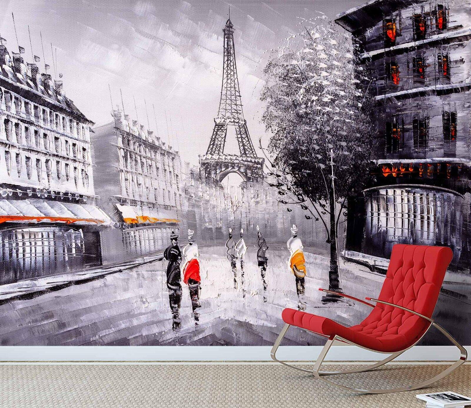 3D Eiffelturm Straßen 7 Tapete Wandgemälde Tapete Tapeten Bild Familie DE Sidney