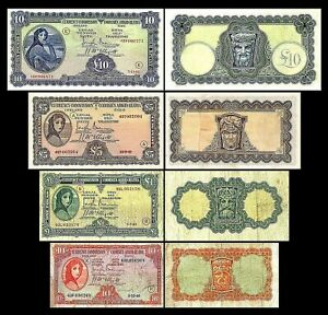 Irlande -   2x 10 Sh,1,5,10 Pounds - Edition 1940 - 1942 - Reproduction - 06