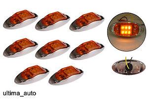 8x-12v-NARANJA-LED-Lateral-Cromo-Luz-De-Luces-de-galibo-Trailer-de-Indicador