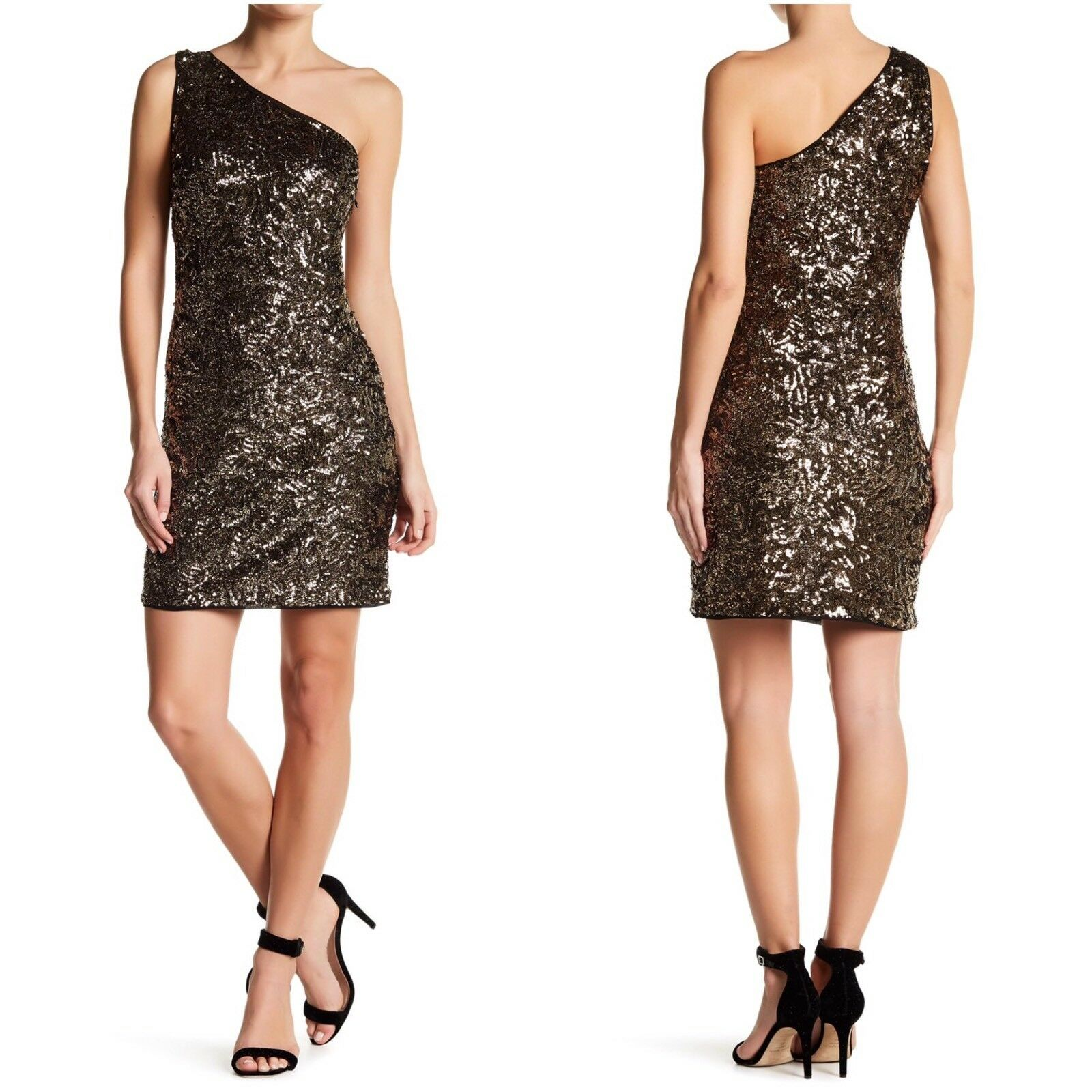 Romeo & Juliet Couture Sequin Dress Womens Size Medium gold One Shoulder