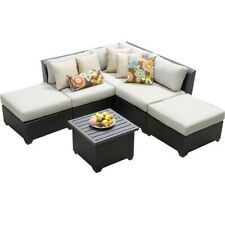 Terrific Jj International Hampton Wicker Patio Sofa With Ottoman For Ncnpc Chair Design For Home Ncnpcorg