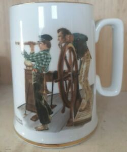 "Norman Rockwell ""River Pilot"" Coffee Mug, Japan"