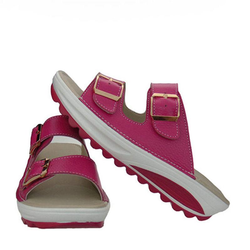 Women's Leather Platform Wedge Sandals Open Toe Low Heel Retro Slippers