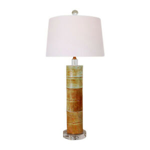 Image Is Loading Beautiful Jade Stone Round Bamboo Style Table Lamp