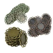 20pcs Round Antique Bronze Filigree Flower Bezel Base Connectors DIY Crafts 20mm