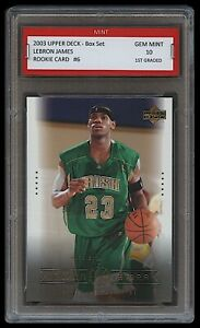 2003-LEBRON-JAMES-UPPER-DECK-w-Irish-Jersey-1ST-GRADED-10-ROOKIE-CARD-RC-LAKERS