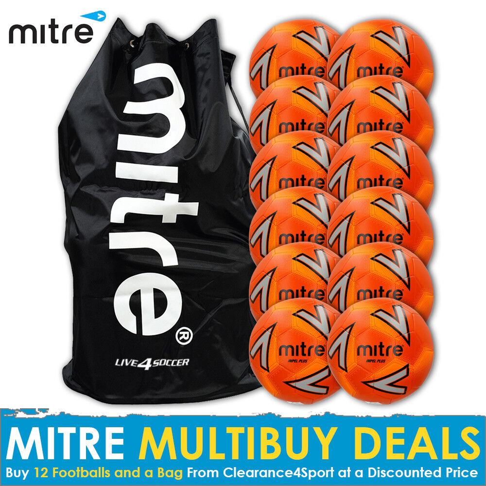 Mitre Impel PLUS Orange 12 Footballs includes Mitre Bag 2018