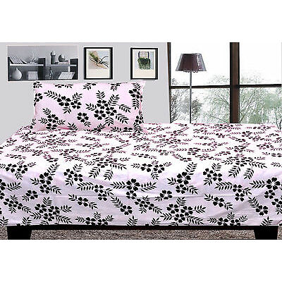 100% cotton single bed sheet with 1 pillow covers - black&white single