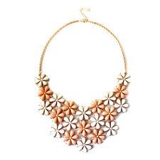 Vintage retro style plum daisy chandelier flowers chain necklace 50s 60s retro
