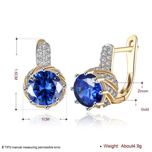 Wholesale 18K Yellow Gold Filled Huggie Hoop Big Blue Cubic Zirconia Earrings
