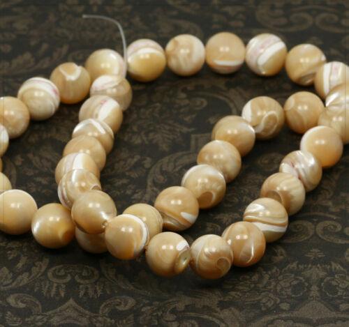 4x en Nacre Coquillage Perles Beads Bijoux À faire soi-même Bricolage balle de Caramel 10 mm sb148
