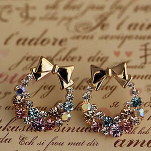 Fashion Women Lady Elegant Crystal Rhinestone Ear Stud Earrings Jewelry 1pair