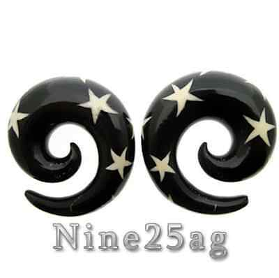 "PAIR LARGE HORN 3/4"" INCH 19mm STAR SPIRALS PLUGS PLUG"