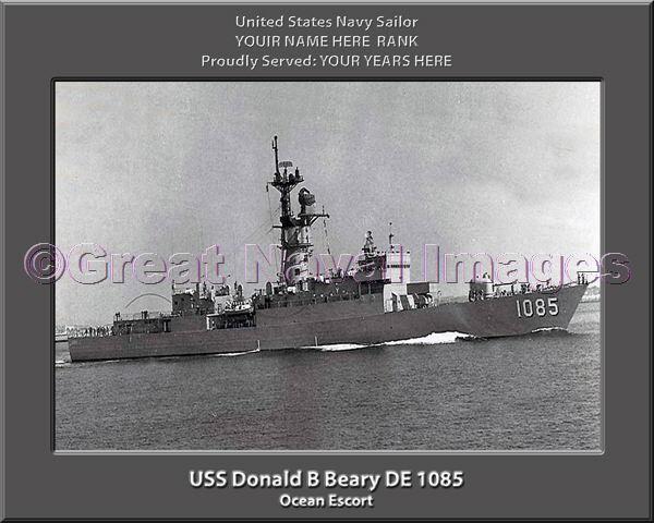 USS Donald B Beary DE 1085 Personalized Canvas Ship Photo Print Navy Vet Gift