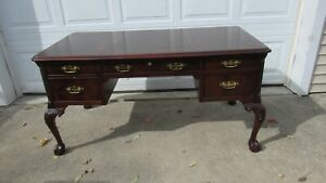 Hekman-Chippendale-Claw-Desk-Mahogany-Leather-Top