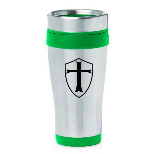 Stainless Steel Insulated 16oz Travel Mug Coffee Cup Templar Shield Knight Cross